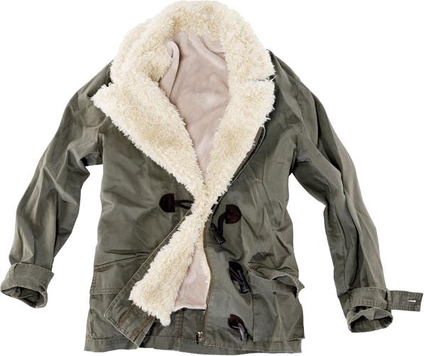 PULL & BEAR zielona kurtka z kożuchem