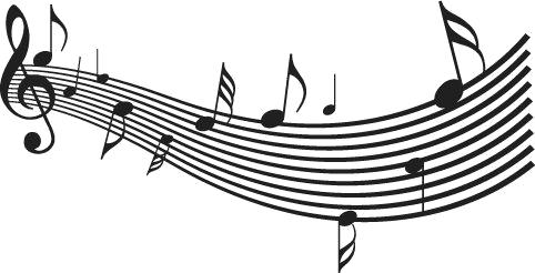 Naklejka muzyczna z pięciolinią i nutami