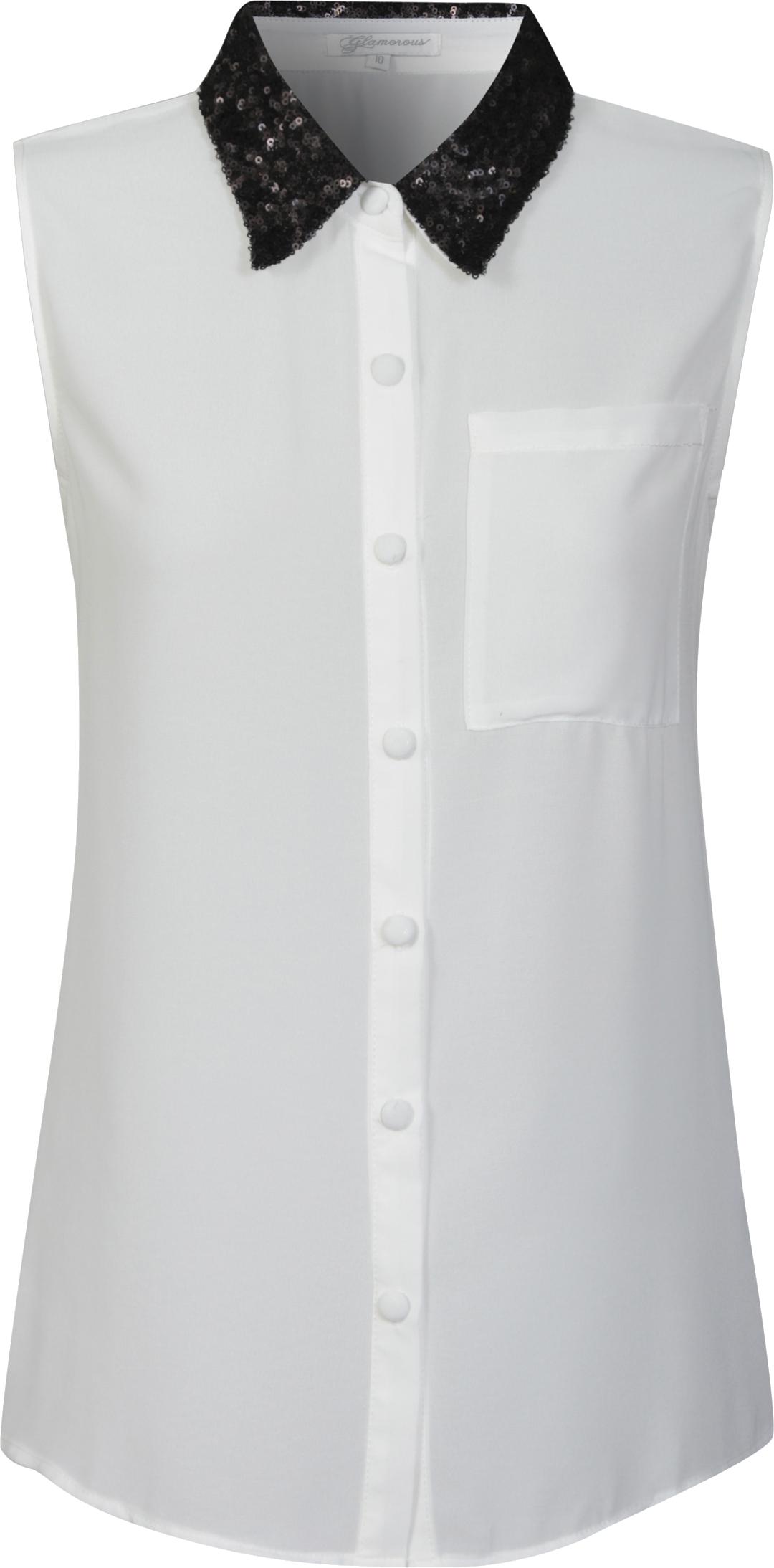Biała koszula z czarnym kołnierzykiem