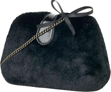 Stradivasius czarne futrzana torebka