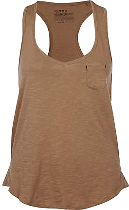 River Island bezowy top racer back vest