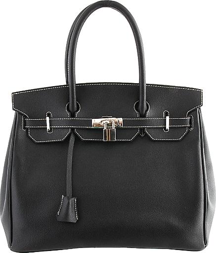 Torebka Prima Moda w stylu Birkin Bag firmy Hermes, czarna