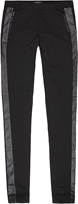 Leginsy czarne z wstawką skórzaną