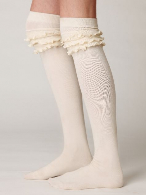 Długie skarpety w białym kolorze