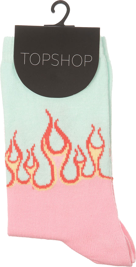 Mint Flame Ankle Socks