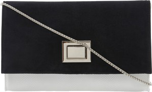 Dune Borrow Two-Tone Monochrome Clutch Bag, Black/White
