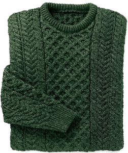 Merino Wool Aran Sweater - Dark Green