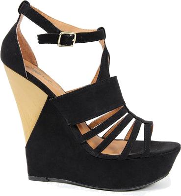 Beżowo czarne buty na koturnie