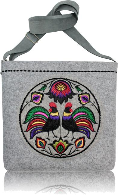 Filcowa torebka GOSHICO z haftem i regulowanym paskiem FOLK KOGUTY
