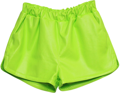 High Waist Fluorescence Green PU Shorts