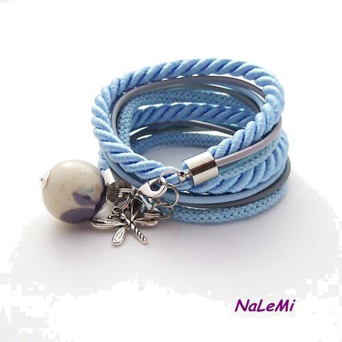 Podwójna bransoletka błękitno-szara