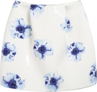 Beige Floral Print Flare Skirt