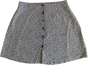 Floral Mini Skirt Black and White Mini Flower Print