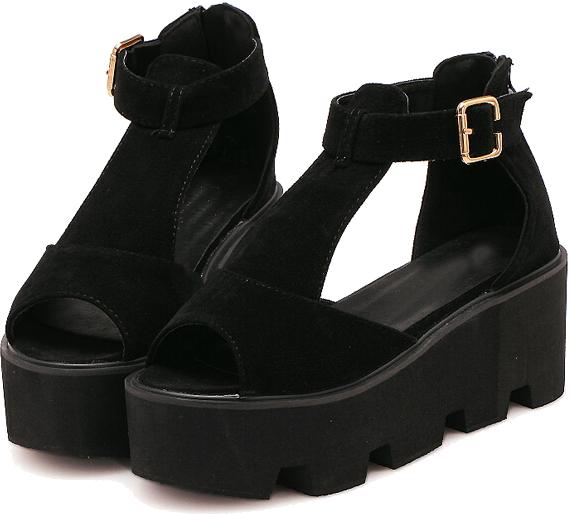 Black Cutout Slingbacks Heavy-bottomed Sandals