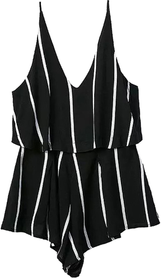 Spaghetti Strap Vertical Striped Black Jumpsuit