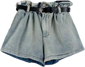 Faded Denim Shorts with High Ruffle Waist
