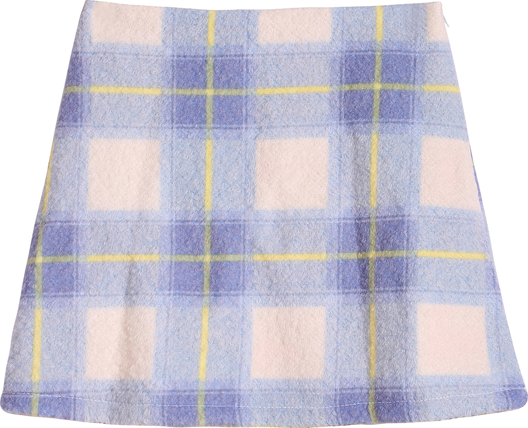 Check Print Pocket Blue Skirt