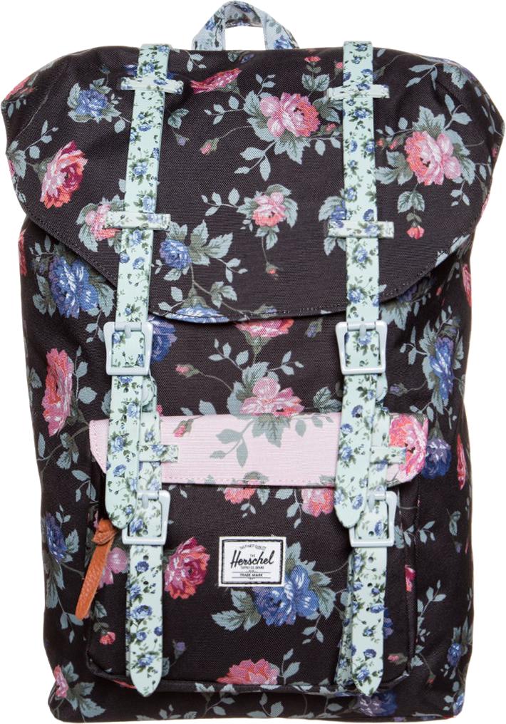Herschel LITTLE AMERICA Plecak black floral/pink floral/blue floral