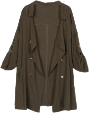 Olive Lapel Waterfall Front Roll-up Sleeve Trench Coat
