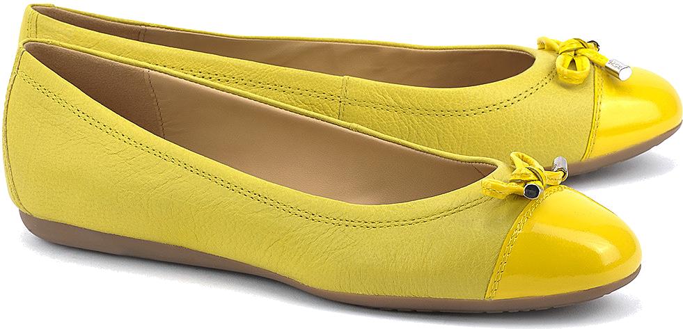GEOX Donna Lola - Żółte Skórzane Baleriny Damskie - D93M4A 0QL66 C2004