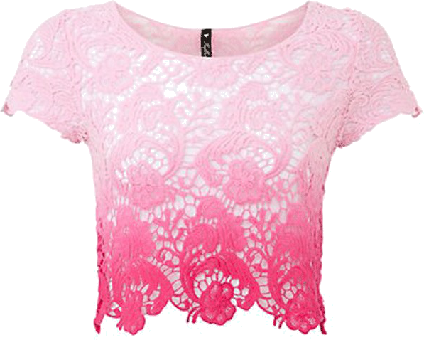 Crop Top ombre, różowy, koronka