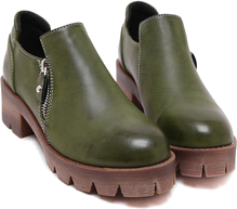 Green Round Toe Side Zipper Ankle Boots