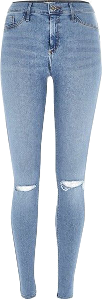 River Island Pretty light blue ripped knee Molly jeggings