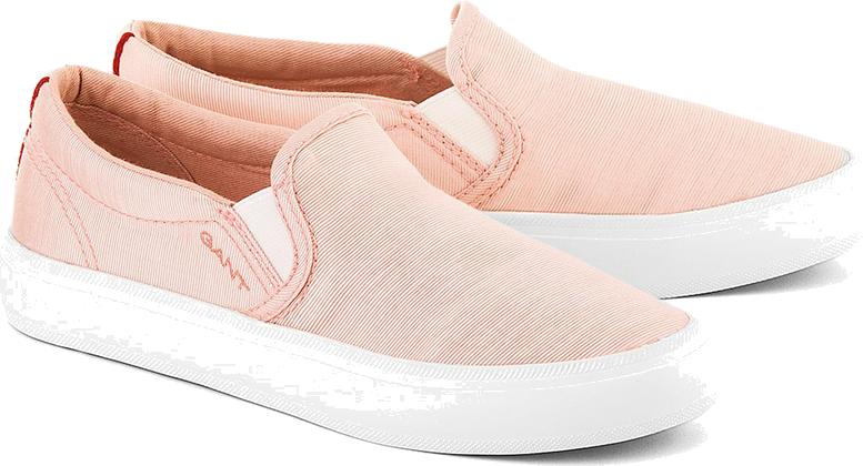 Zoe - Różowe Tekstylne Półbuty Damskie - 12578160 G58