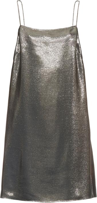 Saint Laurent  Square-neck lamé cami dress