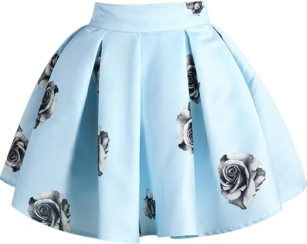 Niebieska spódnica w róże