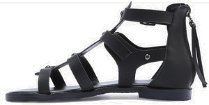 Black Open Toe Caged Cutout Gladiator Sandals