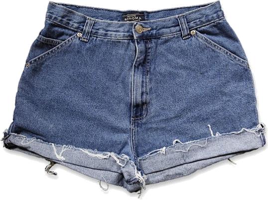 Vintage 90s Medium/Dark Blue Wash High Waisted Rise Cut Offs Cuffed Rolled Jean Denim Shorts – Size 30