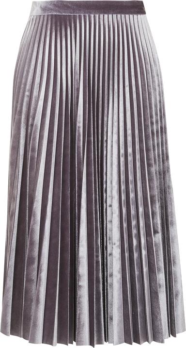 PETITE Velvet Pleat Midi Skirt
