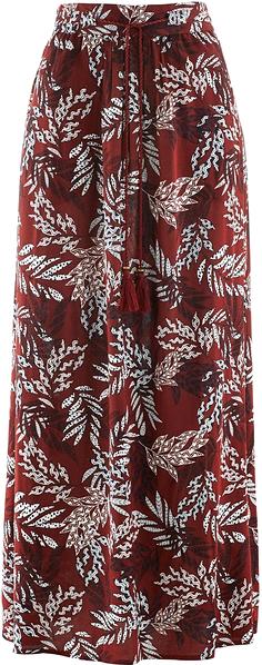 Spódnica z gumką w talii bonprix czerwony kasztanowy - ciemnoniebieski z nadrukiem