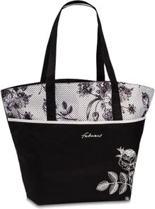 torba plażowa czarno- biała z roślinnym wzorem