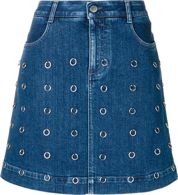 loop-embellished denim mini skirt