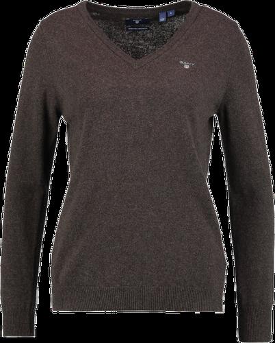 GANT EXTRAFINE VNECK Sweter brown melange