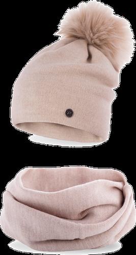 Komplet zimowy damski gładki czapka komin beżowy - beżowy