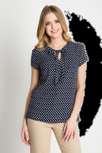 Granatowa wiązana bluzka ze wzorem QUIOSQUE