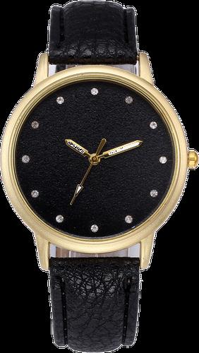 Zegarek damski tarcza brokat cyrkonie czarny - Czarny