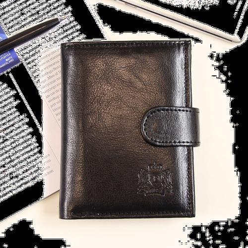 P152 czarny skórzany portfel męski - czarny
