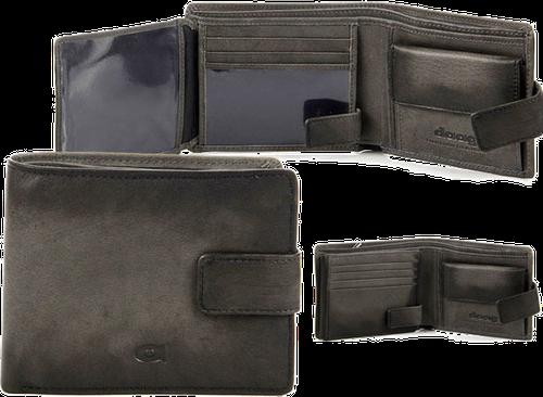 Portfel skórzany daag alive p-05 vintage szary w pudełku - szary