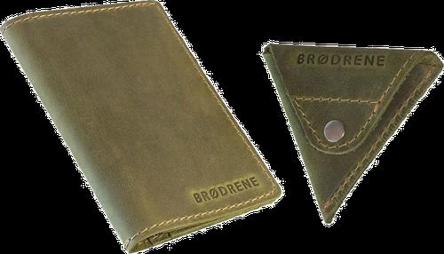 Skórzany zestaw portfel i bilonówka brodrene sw07 + cw01 zielony - zielony