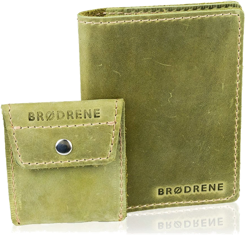 Skórzany zestaw portfel i bilonówka brodrene sw07 + cw02 zielony - zielony