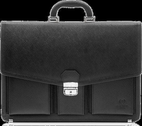 Skórzana teczka aktówka męska na laptopa paolo peruzzi ga157 czarna - czarny