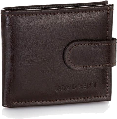 Skórzany portfel męski brodrene a-02 brązowy - brązowy