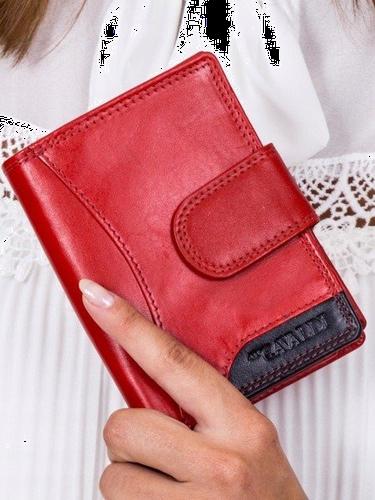 Portfel damski skórzany cavaldi rd-09-cmn czerwony - czerwony z czarnym