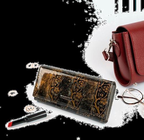 Skórzany portfel damski lakierowany złoty lorenti 72401 - złoty