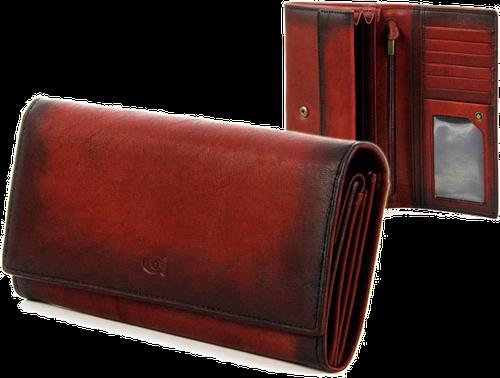 Damski portfel skórzany daag alive p-10 vintage czerwony w pudełku - czerwony
