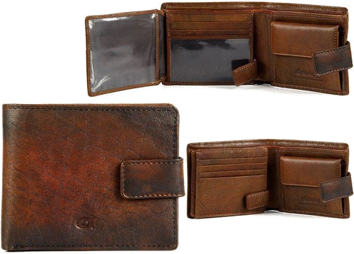 Portfel skórzany daag alive p-05 vintage koniakowy w pudełku - koniakowy